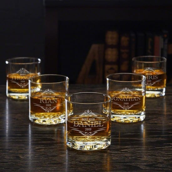 Set of Five Custom Whiskey Glasses for a Housewarming Party