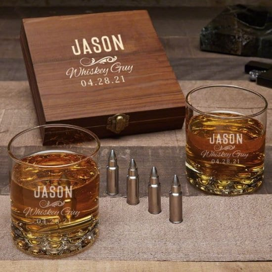 Engraved Set of Bullet Whiskey Stones and Rocks Glasses