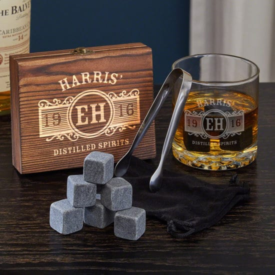 Whiskey stones and rocks glass gift combo