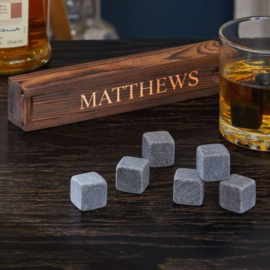 Scotch whiskey rocks in a engraved box