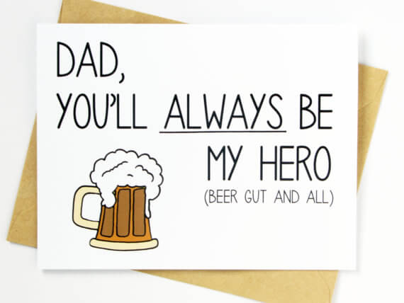 Funny Fathers Day Cards - Dad's Beer Gut
