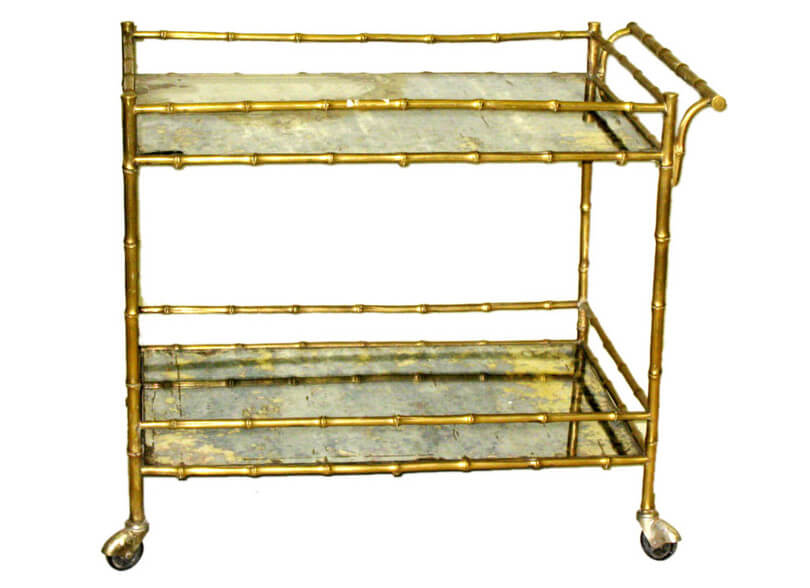 Faux Bamboo Vintage Bar Cart
