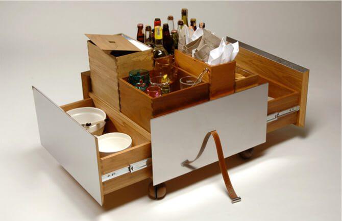 Innovative Wooden Bar Cart