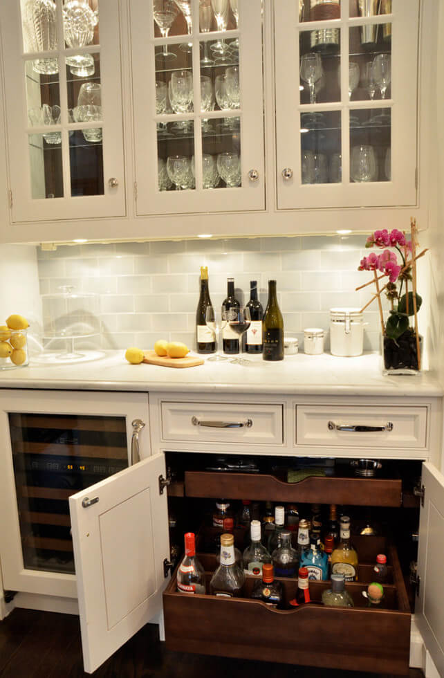 The booze comes to you! Great idea for kitchen bars.