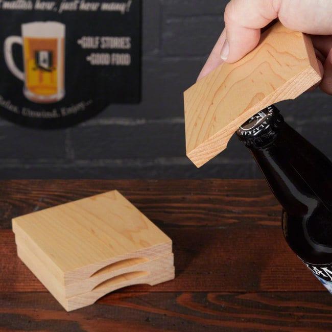 Beer Opener Wood Coaster