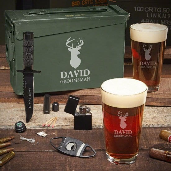 Personalized Stag Ammo Can Pint Set