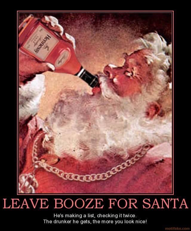 Funny Santa Claus Drinking