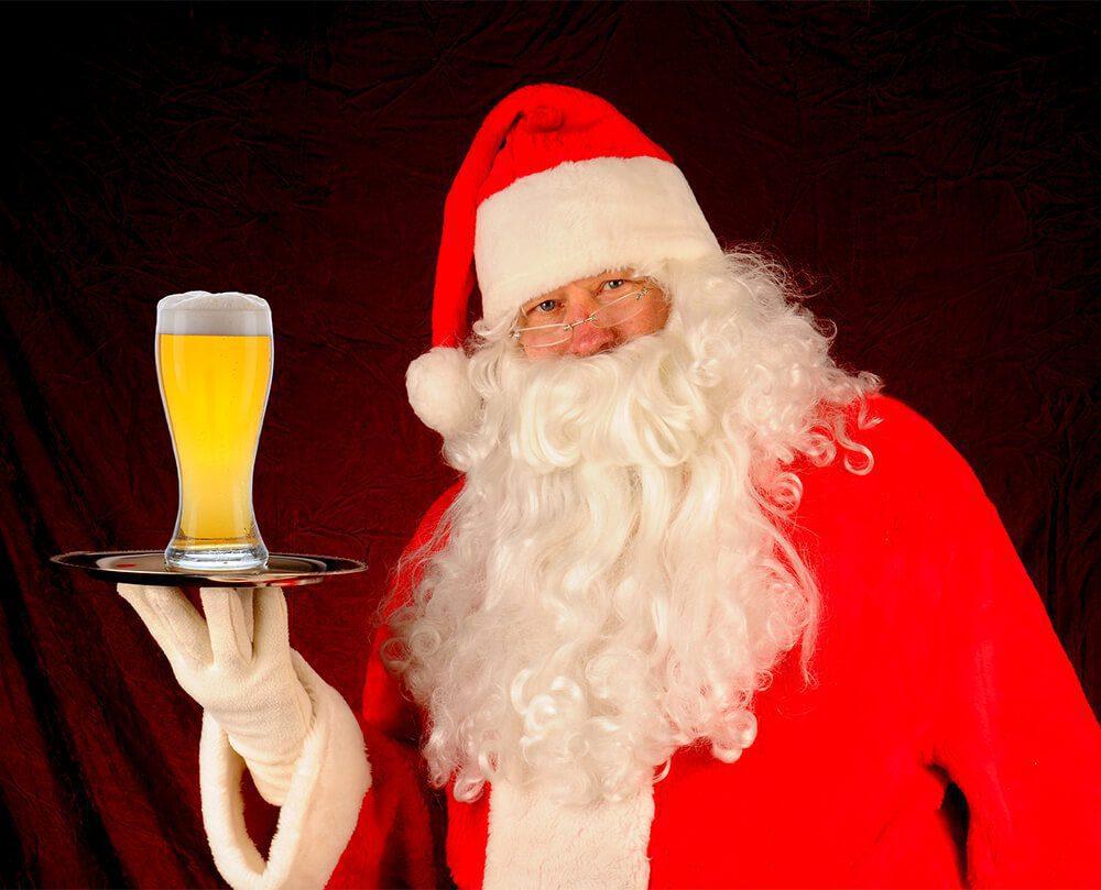 Santa Claus Serving Beer