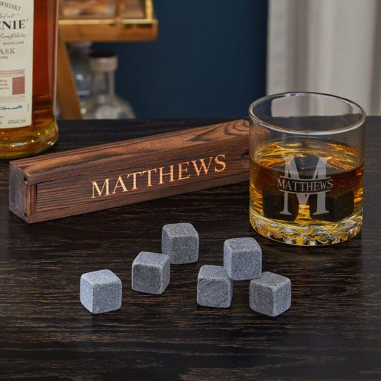 whiskey stones and bourbon glass