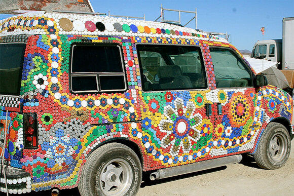 Hippie Van Covered in Lids