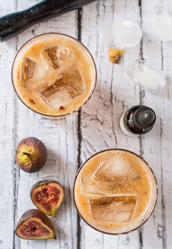 fig cocktails with bourbon and maple
