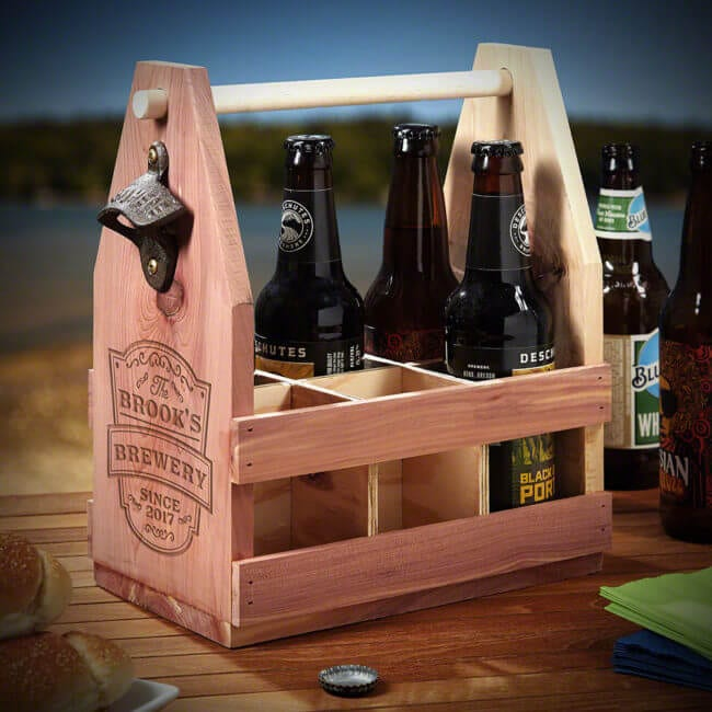 Wooden Beer Carrier with Engraving
