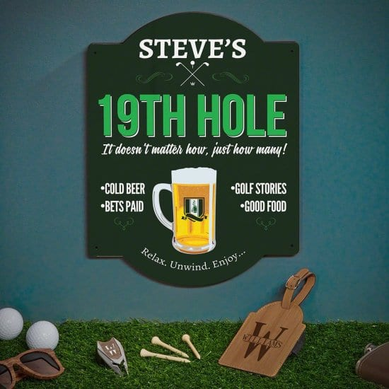 Personalized Golf Sign with Bag Tag and Divot Tool
