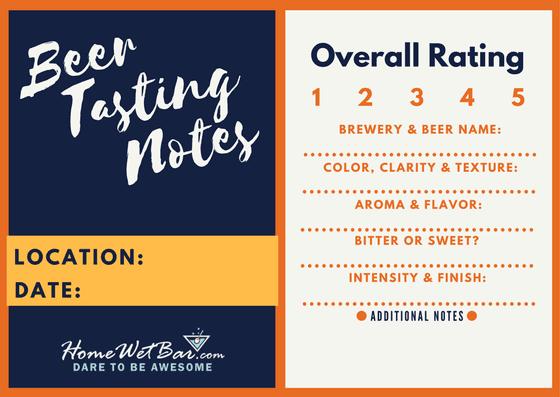 Beer Tasting Notes Sheet