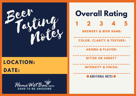 Beer Tasting Notes Sheet