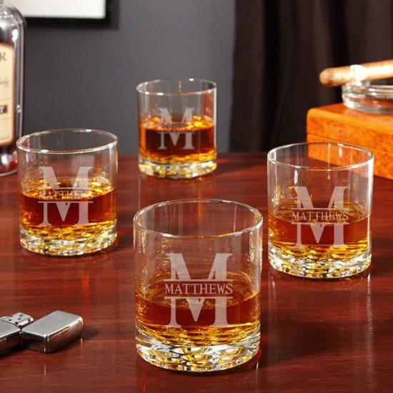 4 Engraved Whiskey Glasses