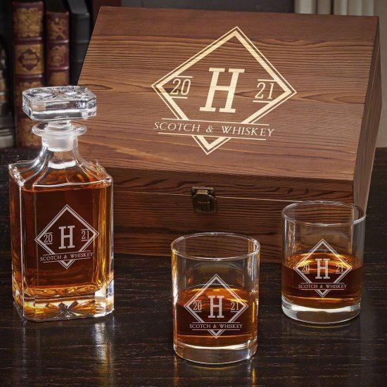 Boxed Whiskey Decanter Set
