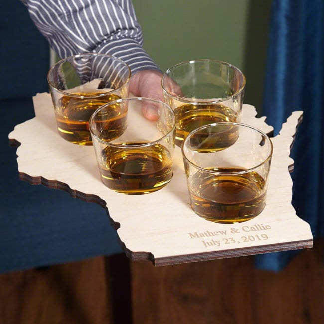 Nice Whiskey Glasses with Serving Tray