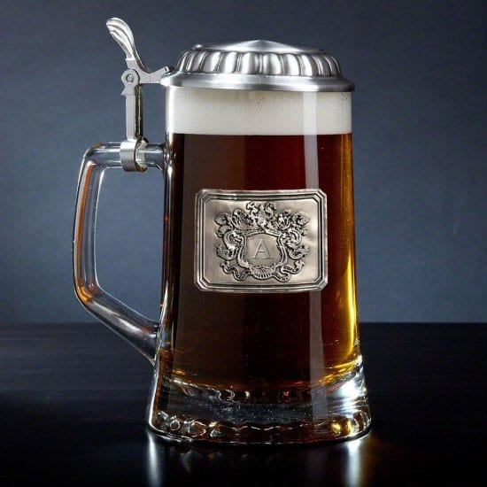 German Style Beer Stein with Pewter Crest and Lid