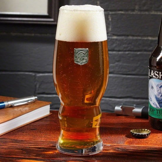 IPA Glass with Pewter Crest