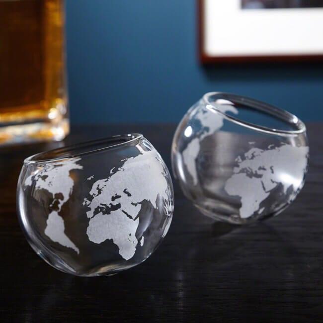 World Globe Cognac Glass Set