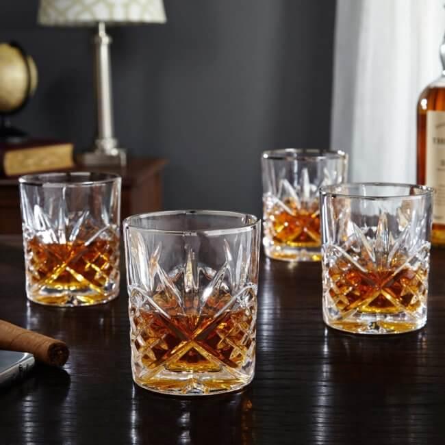 Set of 4 Cut Glass Brandy Glasses