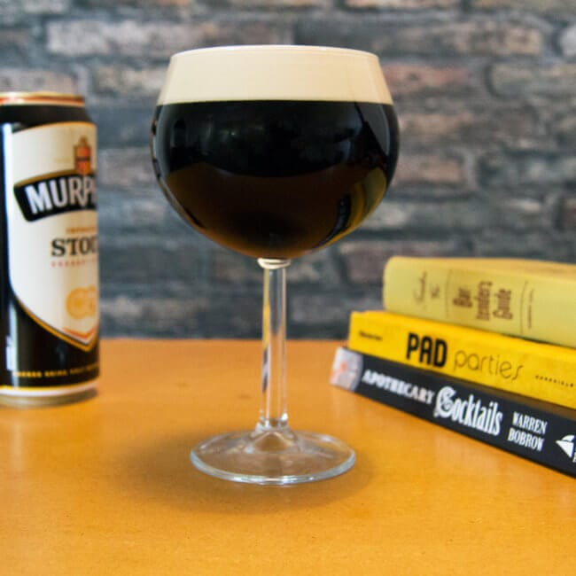 Dark Beer Served in a Wine Glass