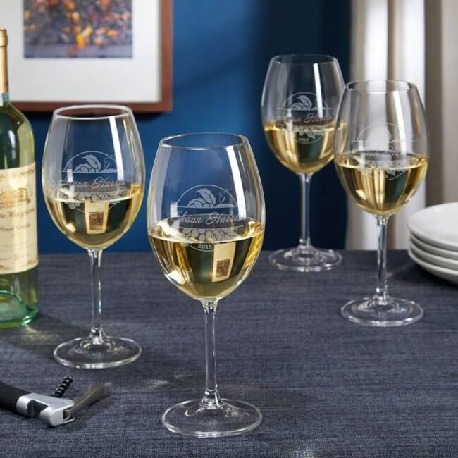 Etched White Wine Glasses