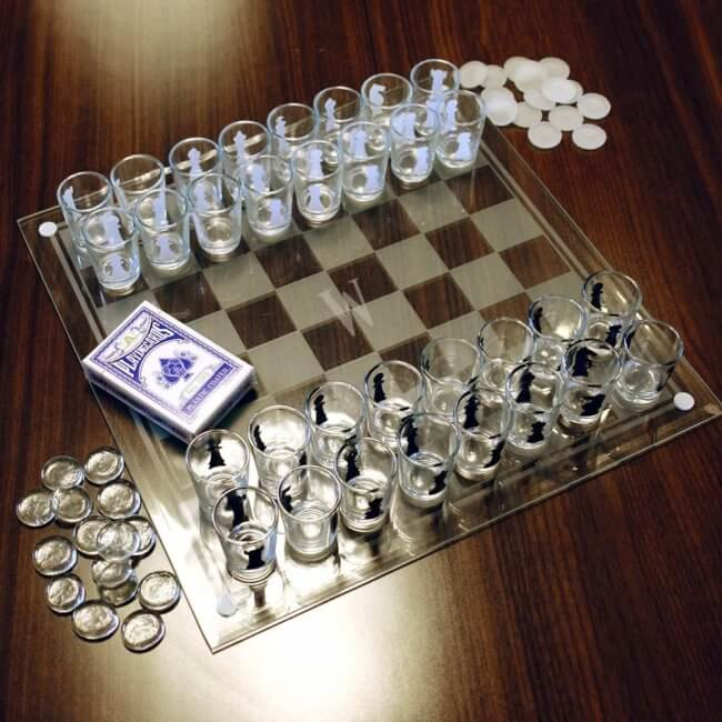 Shot Glass Chess Set Fun Vodka Gift