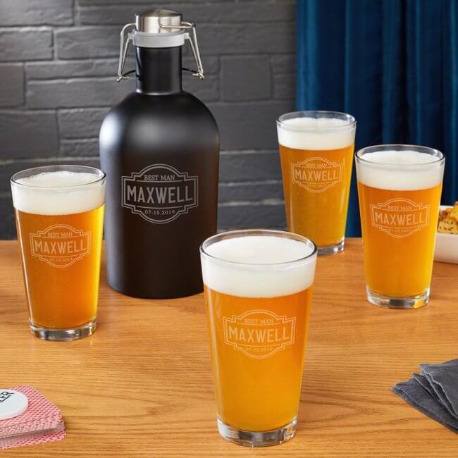 Groomsman Steel Beer Growler and Engraved Pint Set