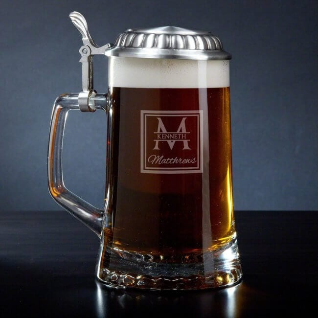 Groomsman Glass Beer Stein with Pewter Lid