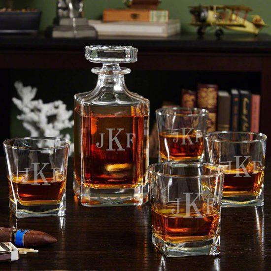 Square Scotch Glasses and Decanter