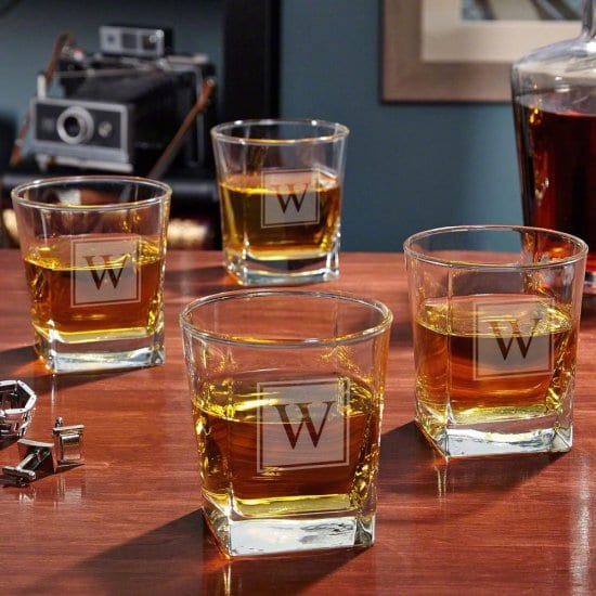 Square Bottom Bourbon Glass Set