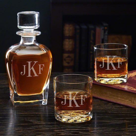 Monogrammed Bourbon Glasses & Decanter