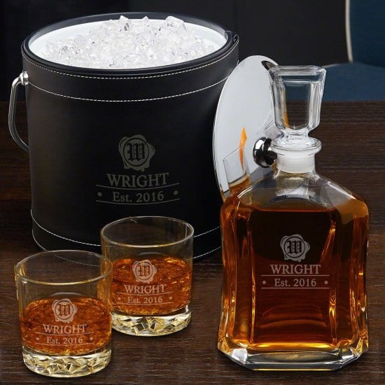Custom Bourbon Glasses and Decanter with Ice Bucket