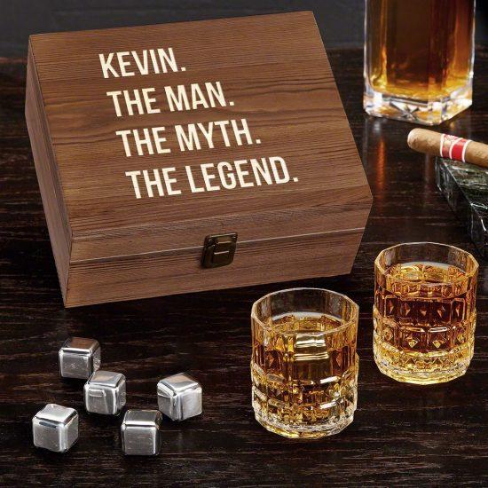 Legendary Whiskey Stone Box with Crystal Scotch Glasses