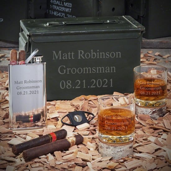 3 Lines Personalized Ammo Can with Bourbon Glasses and Flask