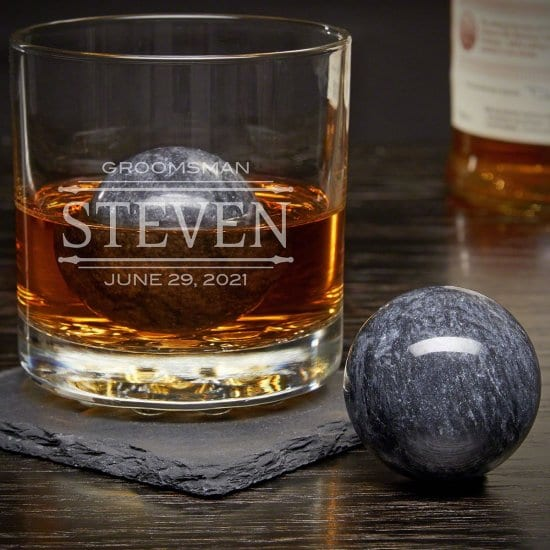 Engraved Old Fashioned Glass and Whiskey Sphere