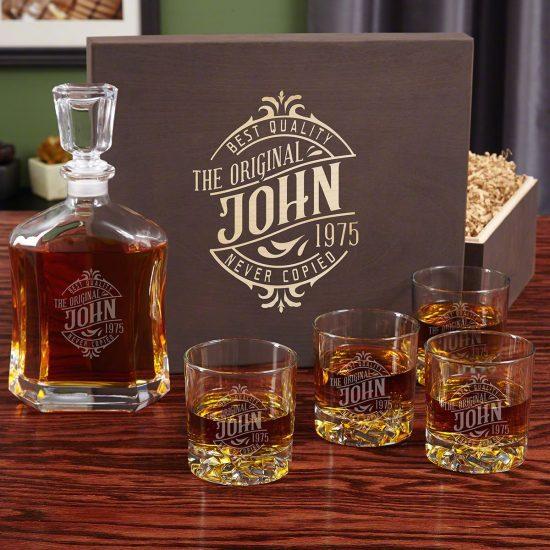 Custom Scotch Decanter Box Set