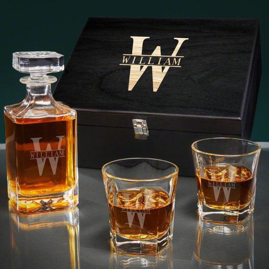 Engraved Bourbon Glass and Decanter Box Set