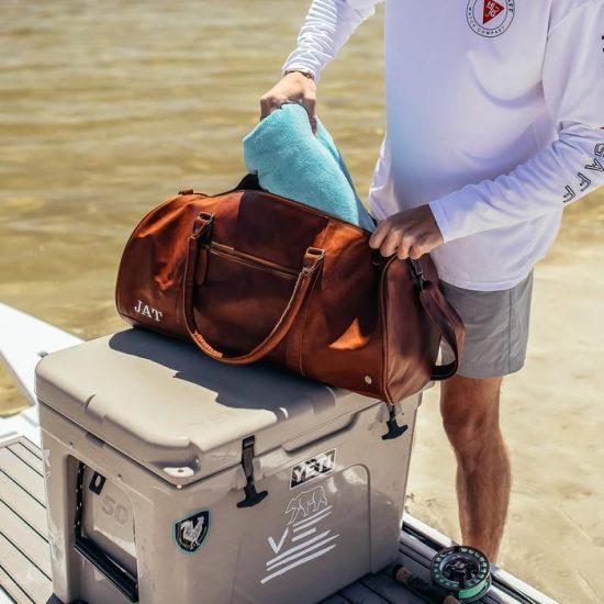 Monogrammed Leather Travel Bag Best Man Gift Ideas