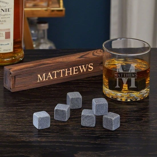 Engraved Rocks Glass and Whiskey Stone Box