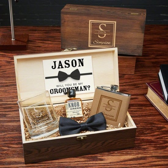 Engraved Flask and Rocks Glass Gift Box
