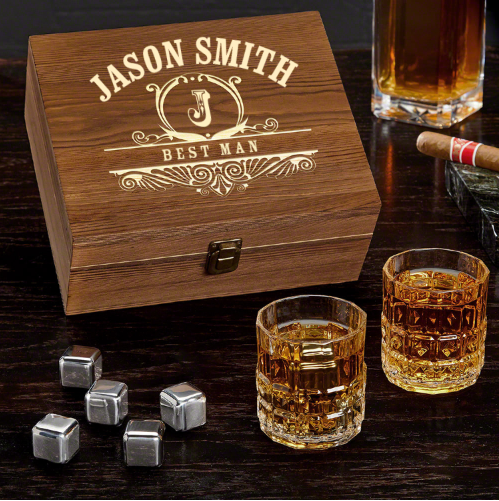 Personalized Whiskey Box Set of Gifts for Best Man