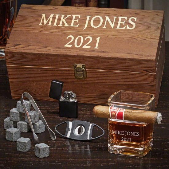 Cigar Glass Box Set with Whiskey Stones, Lighter, and Cigar Cutter