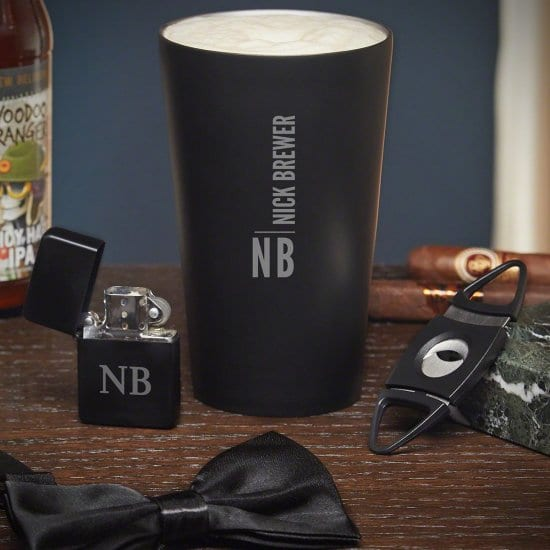 Stainless Steel Pint Glass, Lighter, Cigar Cutter, and a Bow Tie for your Best Man