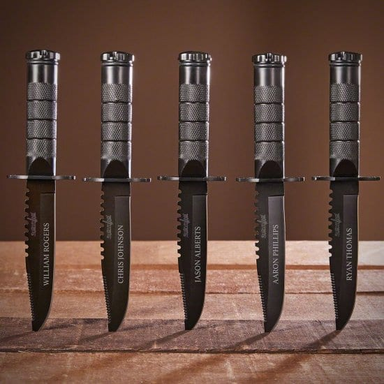Set of 5 Personalized Survival Knives are Groomsmen Gifts