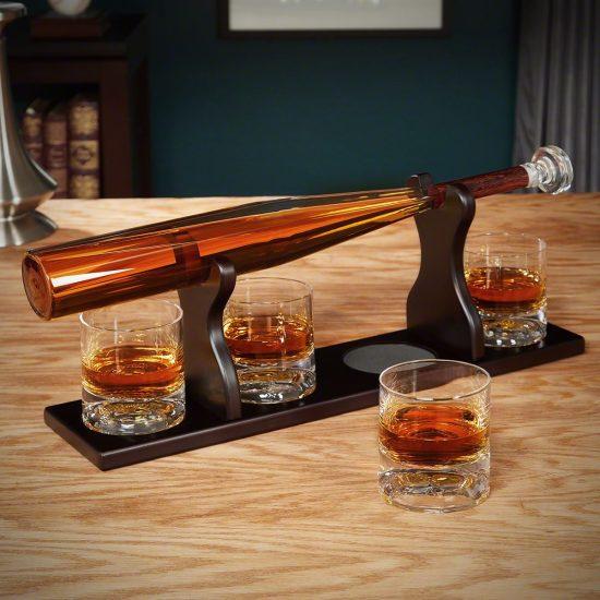 Baseball Bat Whiskey Decanter Set