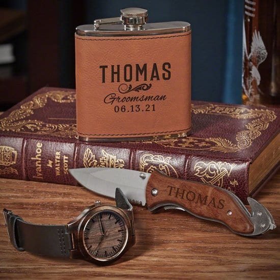 Engraved Watch Knife and Flask Gift Set for Groomsmen