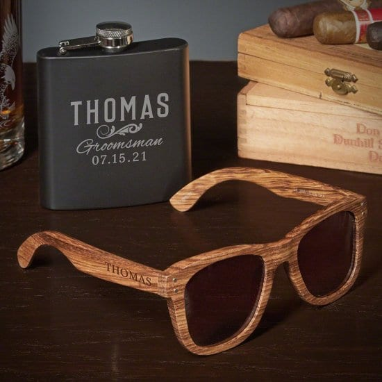 Sunglasses and Flask are Engraved Groomsmen Gifts